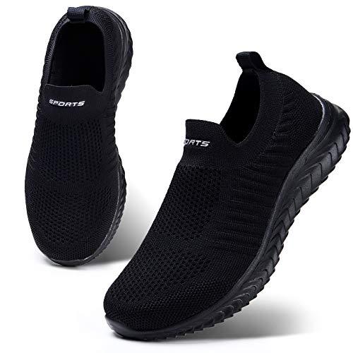 HKR Damen Slip On Sneakers Walkingschuhe Leichte Atmungsaktiv Freizeitschuhe Outdoor Gym Bequem Turnschuhe Schwarz 36 EU