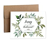 Personalized Bridal Party Proposal Cards - Greenery leaves - FLAT Cards - Will you be my Bridesmaid - Maid or Matron of Honor - Junior Bridesmaids - Flower Girl - Wedding - Eco Friendly