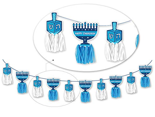 Happy Hanukkah Banner - Chanukah Banner - Blue and White Tassel Banner - Holiday Party Decorations