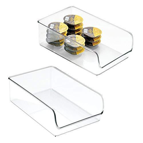 mDesign Vassoio Organizzatore Frigorifero, Freezer, Mobile Dispensa per Cucina - Confezione da 2, 27.94 x 17.78 x 8.89 cm, Trasparente