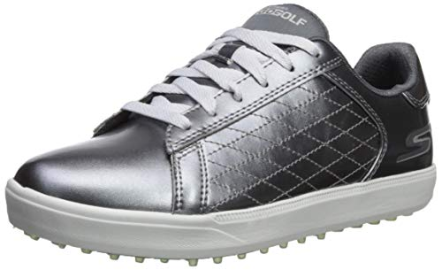 Skechers Damen Spikeless Waterproof Golf Shoe Drive 4, Golfschuhe ohne Spikes, wasserdicht, Zinnfarben, 38 EU
