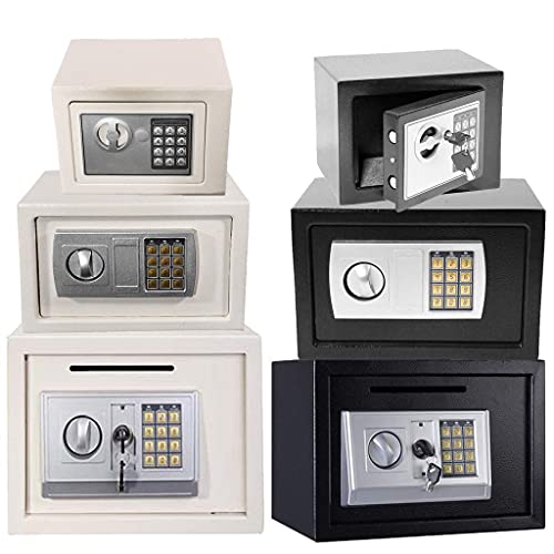 HYCy Caja de Seguridad de Gran Capacidad de Acero sólido de Alta Resistencia de 16 L con Ranura Caja de Seguridad con Cerradura Digital o con Llave con 4 Pernos de Bloqueo para Document