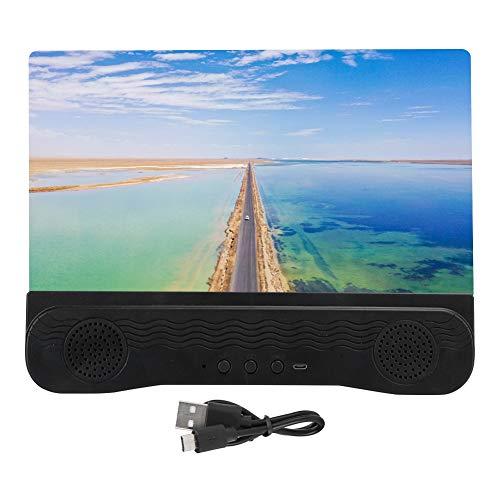 12 Zoll HD Videoverstärker, HD Bildschirmlupe für Telefon, Bildschirmlupe, HD Acryllinsenbildschirm, 3D Visua, mit Bluetooth Lautsprecher, Faltbarer Ständer