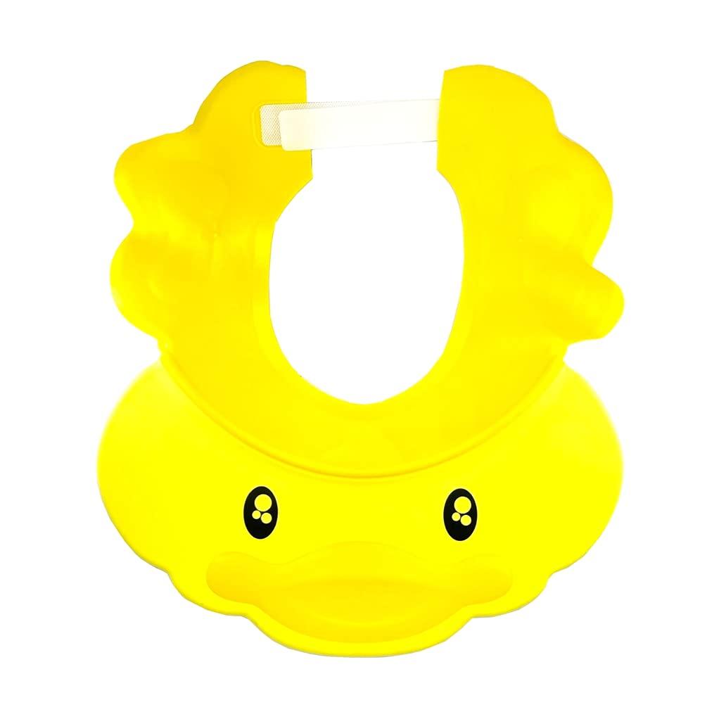 Rauoawby Baby Shampoo Shower Cartoon Cap Adjustable Bathing Hat Silicone Bath Visor Yellow Duck Sunhat Hair Cut for Protecting Kids Eyes Ears (Yellow Duck)