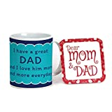 Indigifts Fathers Day Gifts I Love Dad Decorative Coffee Mug 330 ml Blue