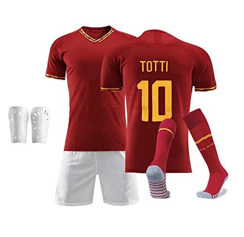 DDSC # 10 Totti Football Club Trikot Set Uniform, Kurzarm Shorts Socke Schienbeinschoner Tank Tops Weste für Erwachsene Jugendliche Kinder Junge 16-XXL-Top Hemd red-20