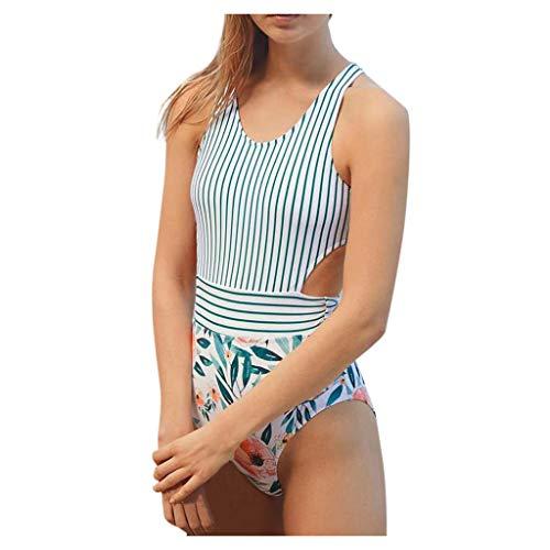 KEERADS Damen Einteiliger Badeanzug Neckholder Monokini Schwimmanzug Bedruckter Halter Blau Und Weiß Streifen Badeanzug Vermiss Dich Mohn Badeanzug Rückenfrei Hohe Taille Gepolstert Badeanzüge