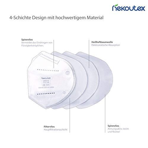 FFP2 Premium Atemschutzmasken in hygienischer luftdichter Einzelverpackung vom Deutschen Hersteller, 4-Schichten Schutz der Atemwege mit CE (NB2841), 10 STK. - 2