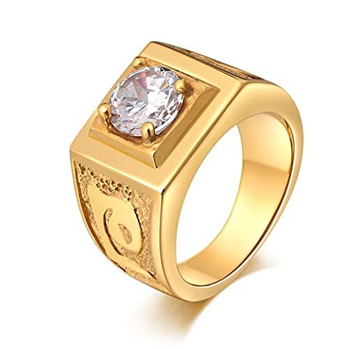 Socoz Anillos de acero dorado, 4 garras redondas doradas para boda o oro