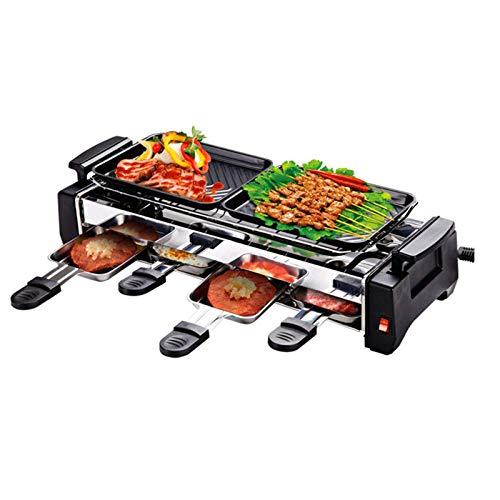 AOIWE Parrillas Raclette Calidad 1200W Familia no pegajosa Barbacoa de la Parrilla eléctrica Raclette Parrilla para 2 a 4 Persona Grill sin Humo Raclette Griddle eléctrico, Negro