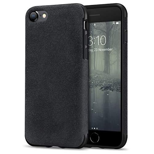 TENDLIN Cover iPhone SE 2020 / Cover iPhone 8 / Cover iPhone 7 Fatta di Materiale Alcantara Custodia Hybrid in Pelle Compatibile con iPhone SE 2020 / iPhone 7 e iPhone 8 (Nero)