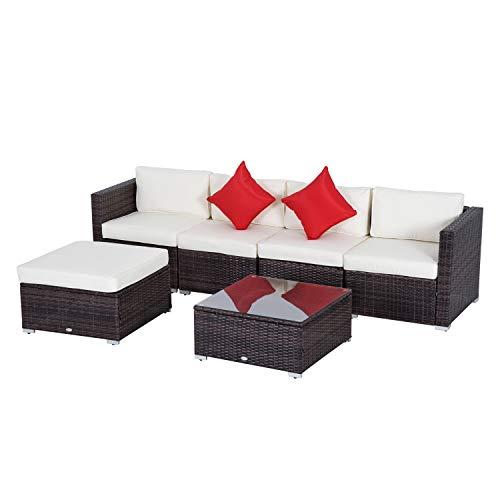 Outsunny Set Mobili da Giardino in Rattan 4 Poltrone 1 Pouf 1 Tavolino in Vetro Temperato 2 Cuscini