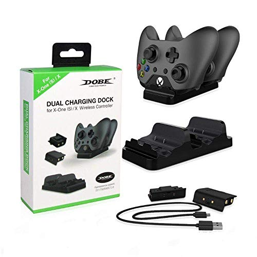 KIT Base carregadora + 2 Baterias Externas + Usb Dobe Para Controle Xbox One (S)/X