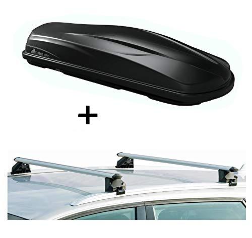 Dakkoffer/bagagebox CUBE470 + raildrager CRV120A compatibel met Volkswagen Golf V SW 07-10
