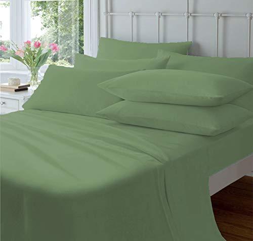 800 TC 100% algodón egipcio – Sábanas de cama premium de tejido de satén, 4 piezas California King – Juego de sábanas de lujo para colchones de hasta 15 pulgadas de profundidad – musgo