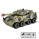 Vokodo Military Tank Battle Truck Toy Push and Go with Lights and Sounds Durable Quality Pivoting Top Friction Power Kids Armored Vehicle Play Army Car Great Gift for Children Boys Girls Camouflage