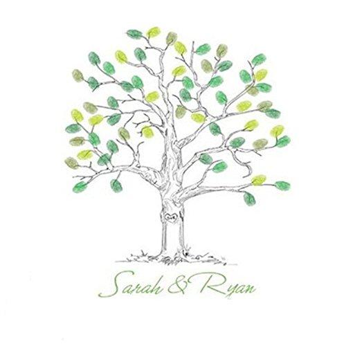 SwirlColor alternativa libro de invitados para boda árbol de huellas dactilares Thumbprint...