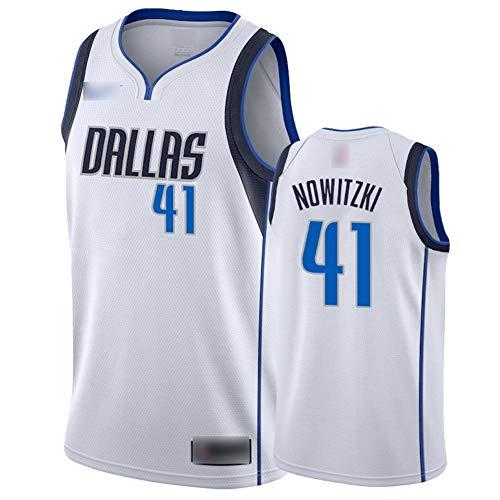 ATI-HSKJ Basketball-Trikots Dallas Mavericks 41# Dirk Nowitzki Fans Männer Basketball Westen Tops Retro Sweatshirt Swingman Jersey Weiß BH269,M:170cm~175cm