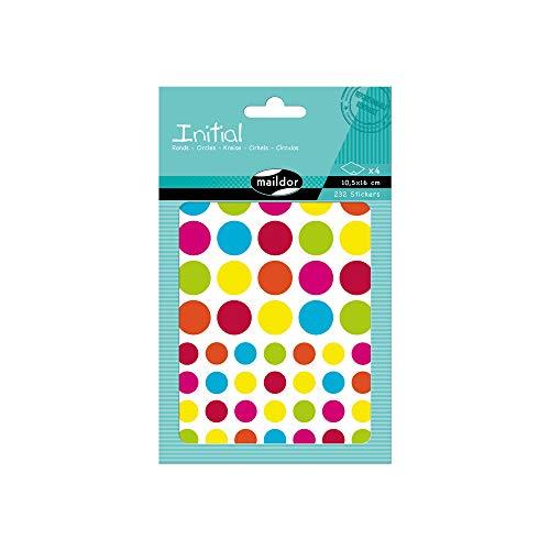 Maildor AE042O Packung Stickers Initial (4 Bögen, 10,5 x 16 cm, 232 Stickers, ideal für Kinder ab 5 Jahren, bunte Kreisen)