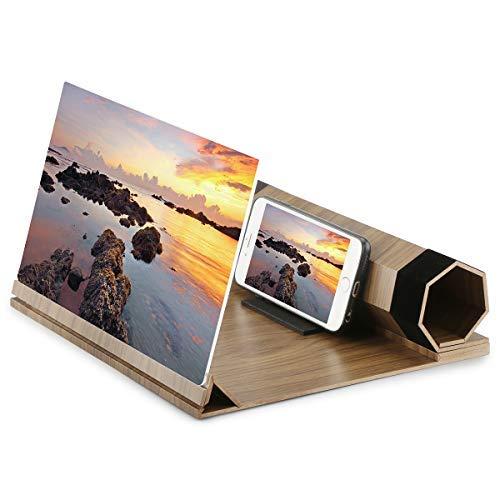 Tensphy Screen Magnifier Amplificatore 12' dello Schermo dello Smartphone Schermo 3D in Legno Ingranditore Schermo Staffa Supporto da Tavolo Pieghevole Portatile Home Cinema Portatile