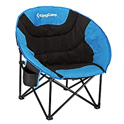 50%OFF KingCamp Moon Saucer Camping Chair Cup Holder Steel Frame Folding Padded Round Portable Stable