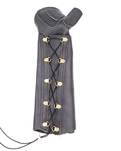 Nideen Arco protector de brazo unisex de piel de vaca ajustable, color negro