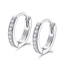 【High Quality Material】: This Small Hoop Earrings is made of 925 Sterling Silver & AAA Cubic Zirconia. High Polished, Platinum Plated. Nickel-free, Hypoallergenic, and Shiny Forever. Perfect to keep as a Daily Jewelry. Our Silver Earrings are suitabl...