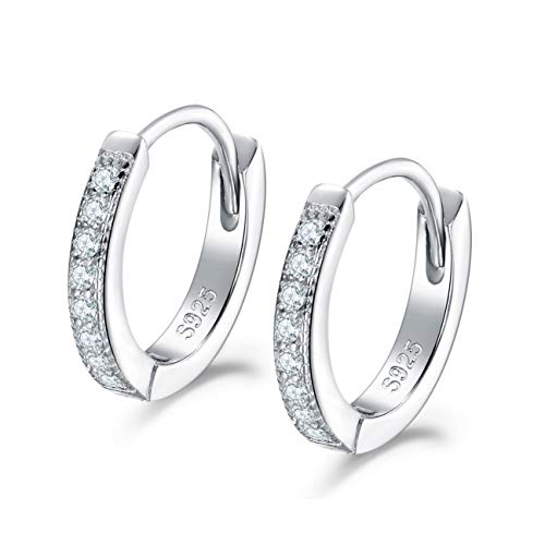 Shuxin Silver Hoops Earrings for Women, 925 Sterling Silver Huggie Hinged Earrings with AAA Cubic Zirconia, Diameter 13mm Hypoallergenic Small Sleeper Hoops