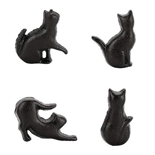 Sumnacon Set di 4 pomelli per armadio a forma di gatto in ferro da stiro, per la decorazione della casa
