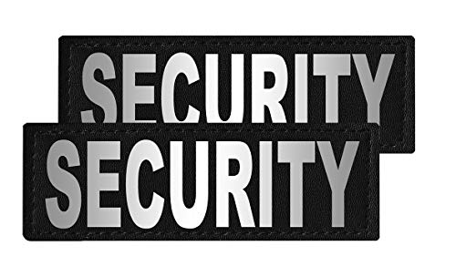 Dogline Security Vest Patches – Removable Security Patch 2-Pack with Reflective Printed Letters for Support Therapy Dog Vest Harness Collar or Leash Size C (2