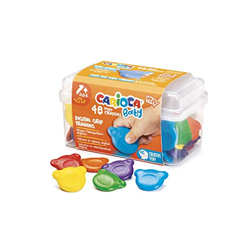 Carioca Pastelli Baby Teddy   Scatola di Pastelli Colorati per Bambini dai 12 Mesi, a Forma di Orsetto, 48 Pezzi