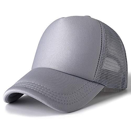 1 Uds, Gorra Unisex Informal, Gorra de béisbol de Malla Lisa, Sombreros Ajustables para Mujeres, Hombres, Gorra de Camionero de Hip Hop, Gorra de papá-Grey-54cm-60cm