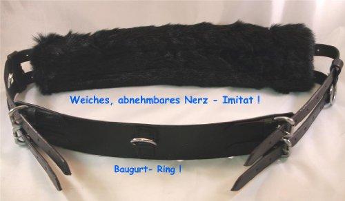 Tysons Breeches Longiergurt Leder mitKunstfell Nerz Optik 13 Ring Mini Shetty Shetty Pony Vollblut Warmblut Schwarz, Shetty