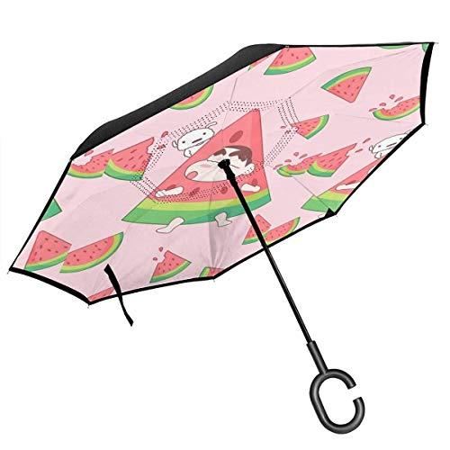 Umgekehrter Regenschirm Niedlicher Wachsmalstift Shin-Chan Umklappbarer Regenschirm Winddichter UV-Schutz Großer gerader Regenschirm für Autoregen im Freien mit C-förmigem Griff
