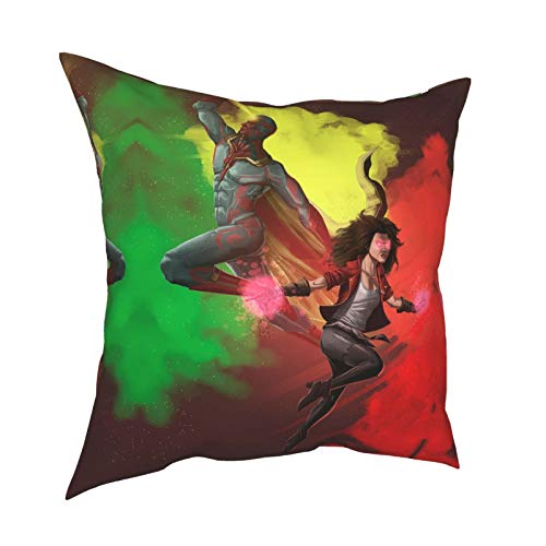 Scarlett Witch Wan-da-Vis-ion beliebte 70er Jahre TV Merchandise Darcy Lewis Kissenbezüge Kinder Schlafzimmer Sofa-Set Zubehör mit Anti-Rutsch 30,5 x 30,5 cm