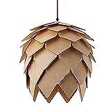 Lámpara de techo colgante de madera de roble creativa y moderna, diseño de pinecona para bricolaje, para comedor, restaurante, cocina, bar, retro, diámetro 25/40/60 cm (diámetro S25 cm)