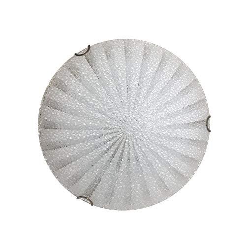 ONLI Lampadario Crux Plafoniera E27, Vetro Bianco, diametro 30 cm. Stile moderno per camera, soggiorno, bagno