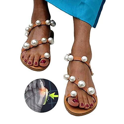 WYZXR Versión Mejorada Sandalias cómodas para Mujer, Verano, Punta Abierta, Perlas, Diamantes de imitación, Chanclas Planas, para Mujer, Playa, Viajes, Roma, Zapatillas para corrección del Hueso de