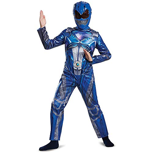 Disguise Blue Power Ranger Movie Costume Large 10-12 – Kids Power Rangers Blue Ranger Costume – Vibrant Blue and Silver Jumpsuit and Half-Mask – Easy Sizing and True to Size!