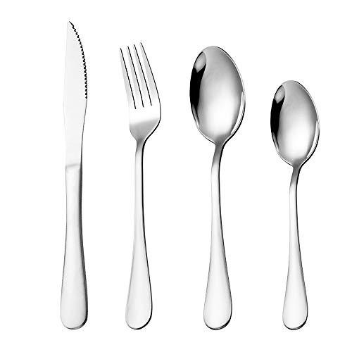 Mostop Juego de cubiertos de acero inoxidable de 12 piezas con cubertería y tenedor de cuchara, servicio para 3, pulido con espejo y apto para lavavajillas