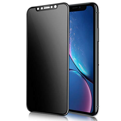 TECHO Privacy Screen Protector Compatible with iPhone 11 / iPhone XR (6.1), Full Coverage Anti-Spy 9H Tempered Glass Screen Protector [Case Friendly][Advanced Clarity] (2019)