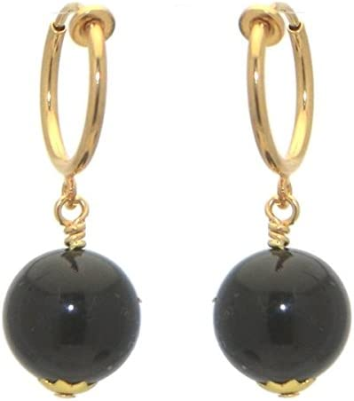 LINDSEY CERCEAU 12mm Gold Plated Black Clip On Earrings
