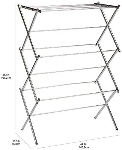 Amazon Basics Foldable Laundry Rack for Air Drying Clothing - 41.8 x 29.5 x 14.5, Chrome