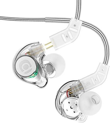 In Ear Monitor, Adorer IM8 Universal-Fit In-Ear Kopfhörer mit Mikrofon, Geräuschunterdrückung und Austauschbares Kabel (Transparent)