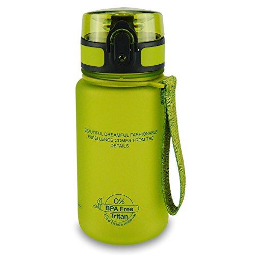 SMARDY Tritan Botella de Agua para Beber Vert - 350ml - de plástico sin BPA - Tapa de un Clic - fácil de Abrir - ecológica - Reutilizable