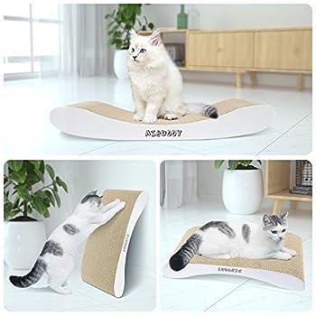 Aibuddy Griffoir à chats, griffoir incurvé réversible en carton, coussin en carton pour chats avec herbe à chat bio [44 x 25 x 7cm, construction et carton de qualité supérieure]