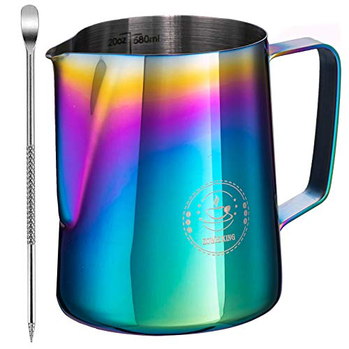 Jarra de acero inoxidable para hacer espuma de leche, jarra de vapor con bolígrafo decorativo, para café de leche, capuchino, latte, barista, jarra de vapor, jarra de leche para...