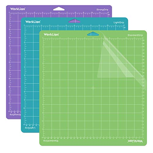 WORKLION Cutting Mat 12x12 for Cricut: Cricut Explore One/Air/Air 2/Maker Gridded Adhesive Non-Slip Durable Mat for Sewing Quilting and Arts & Crafts Projects - Cutting Mat Set(3 Pack)