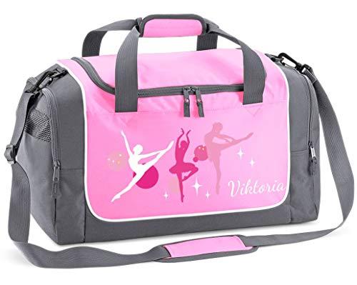 Mein Zwergenland Sporttasche Kinder Praktisch kompakt & robust Sporttasche mit Namen Ballerina als Aufdruck Farbe Rosa 38 L Stauraum die perfekte Sporttasche für Kinder