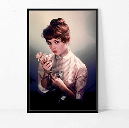 JCYMC Brigitte Bardot Filmstar Schauspielerin Model Schwarz Weiß Poster Und Die Wand Vintage Wohnkultur Mk17Zw 40X60Cm Rahmenlos